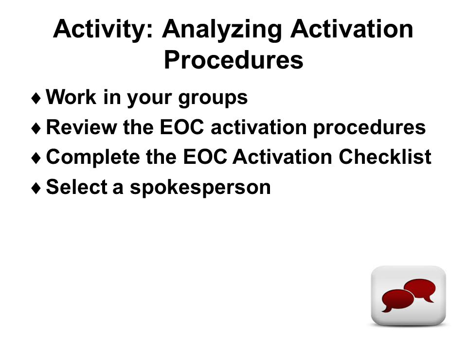 Activity: Analyzing Activation Procedures