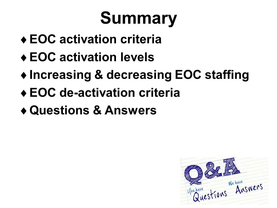 Summary EOC activation criteria EOC activation levels