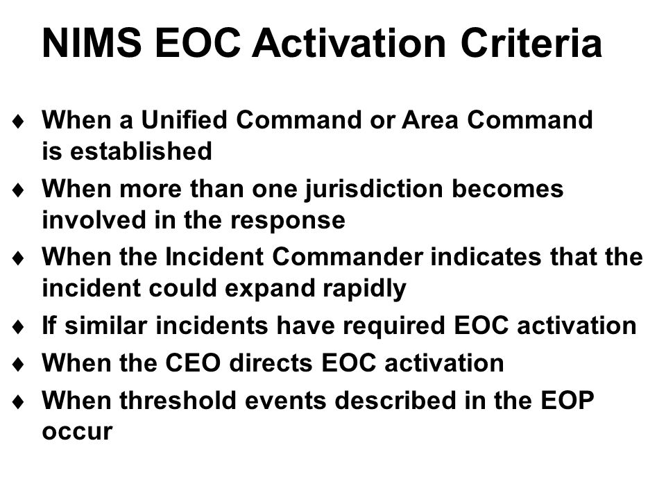 NIMS EOC Activation Criteria
