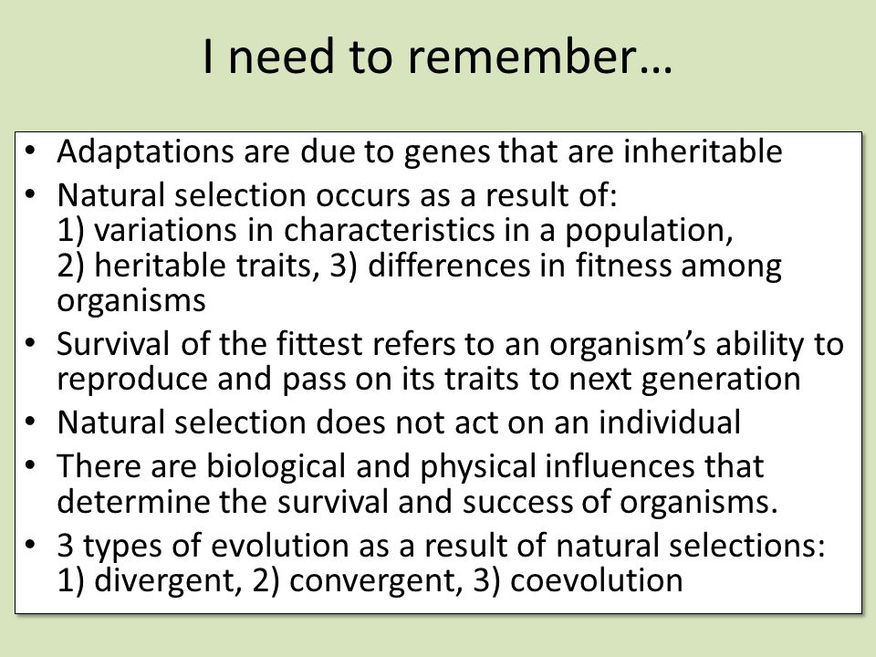 I need to remember… Adaptations are due to genes that are inheritable