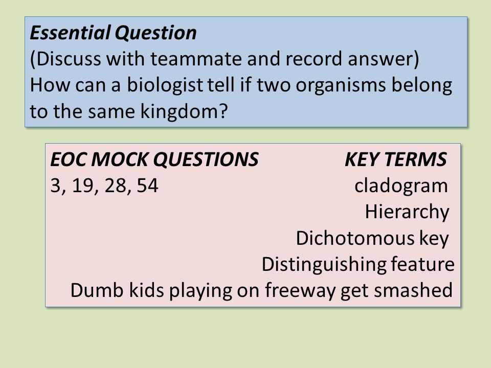 Essential Question (Discuss with teammate and record answer) How can a biologist tell if two organisms belong to the same kingdom