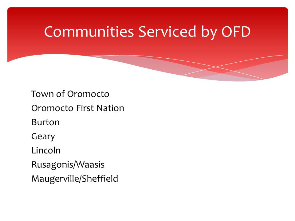 Communities Serviced by OFD