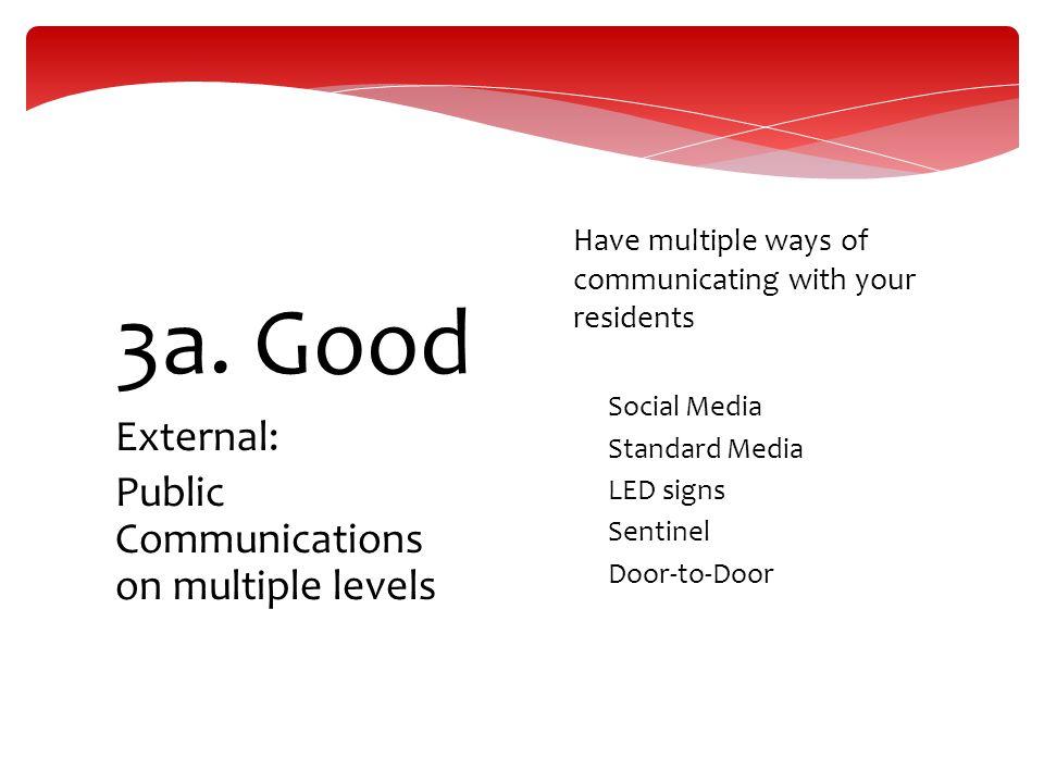 3a. Good External: Public Communications on multiple levels