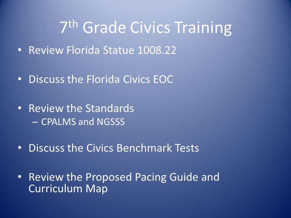 7th Grade Civics Training