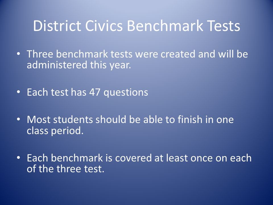 District Civics Benchmark Tests