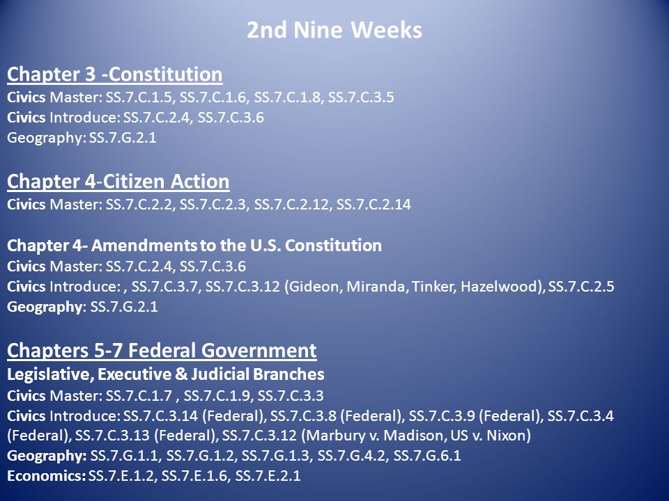 2nd Nine Weeks Chapter 3 -Constitution Chapter 4-Citizen Action