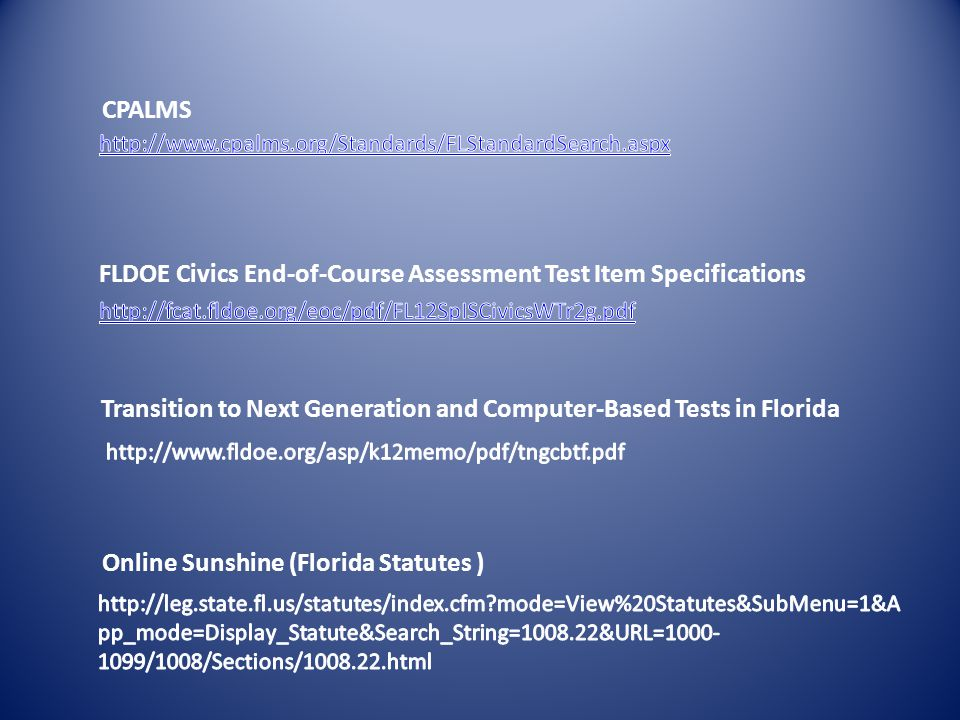 FLDOE Civics End-of-Course Assessment Test Item Specifications