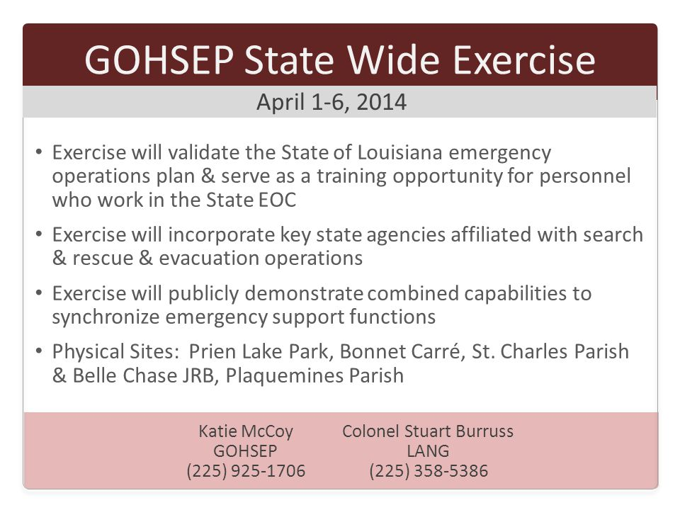 GOHSEP State Wide Exercise
