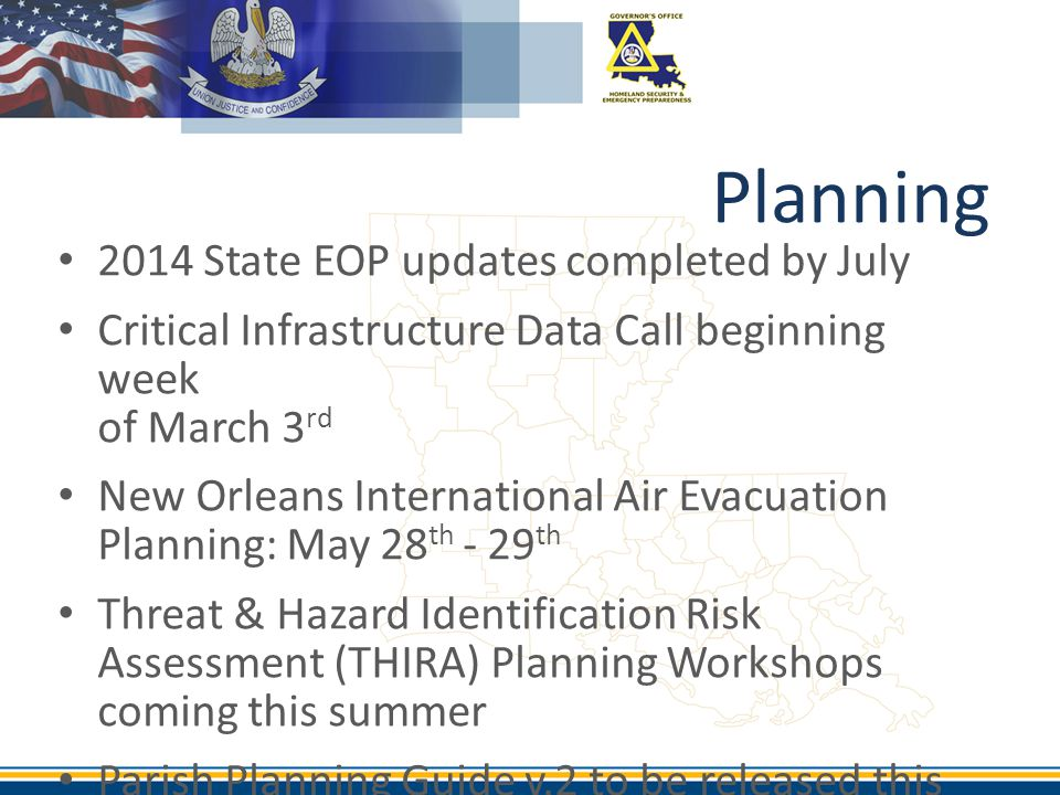 Planning 2014 State EOP updates completed by July