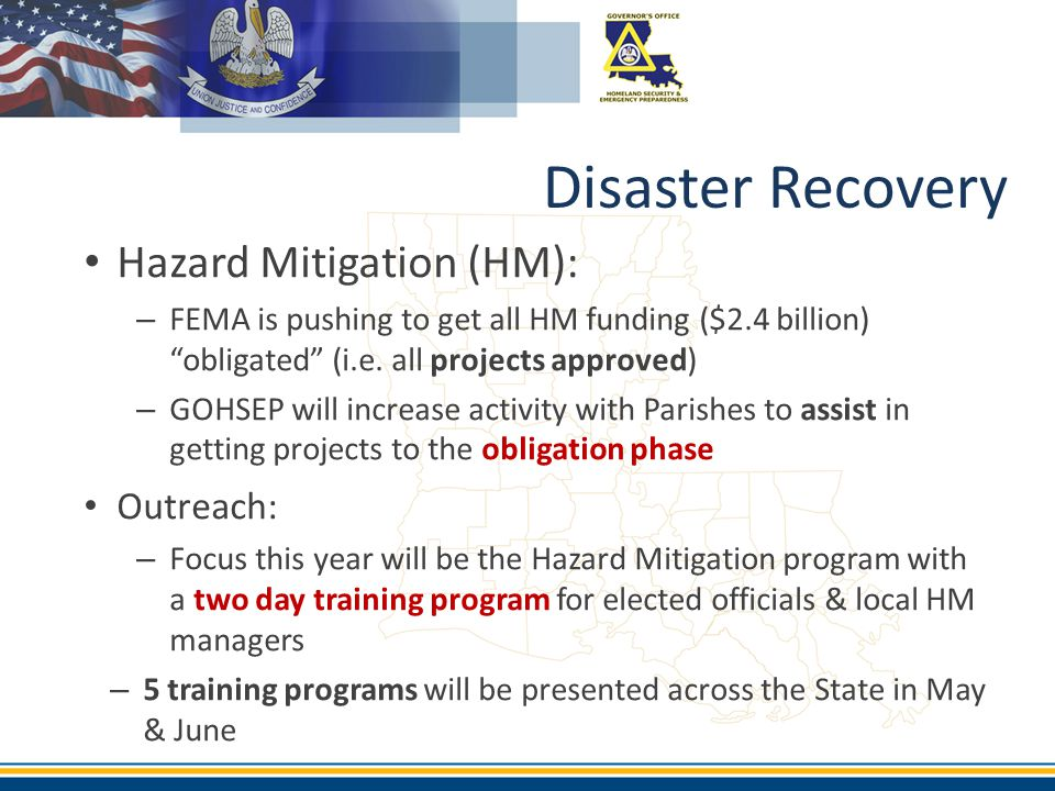 Disaster Recovery Hazard Mitigation (HM): Outreach: