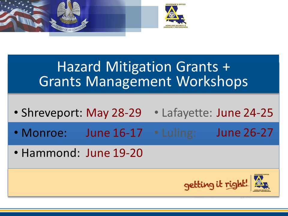 Hazard Mitigation Grants + Grants Management Workshops
