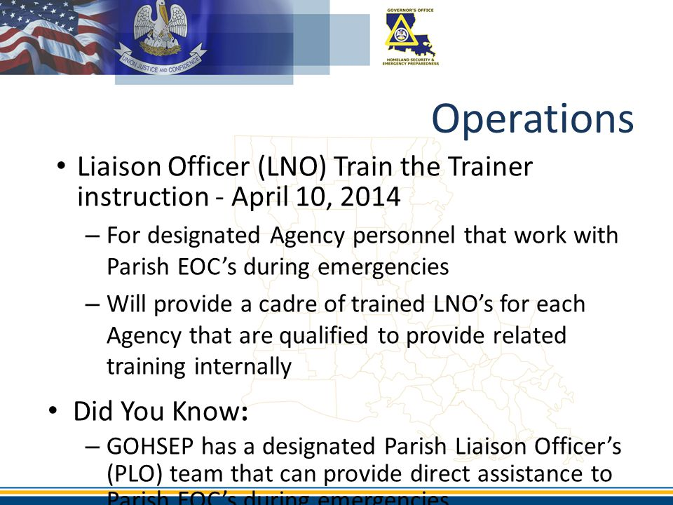 Operations Liaison Officer (LNO) Train the Trainer instruction - April 10, 2014.