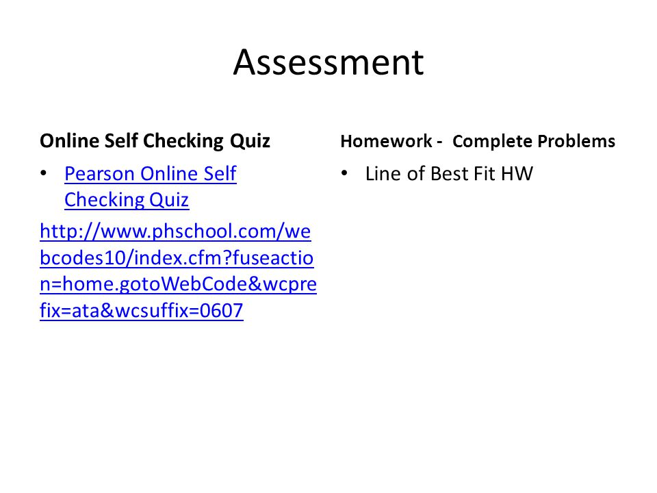 Assessment Online Self Checking Quiz Pearson Online Self Checking Quiz