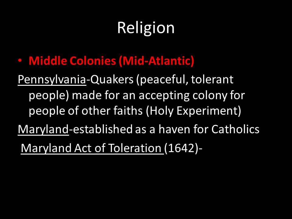 Religion Middle Colonies (Mid-Atlantic)