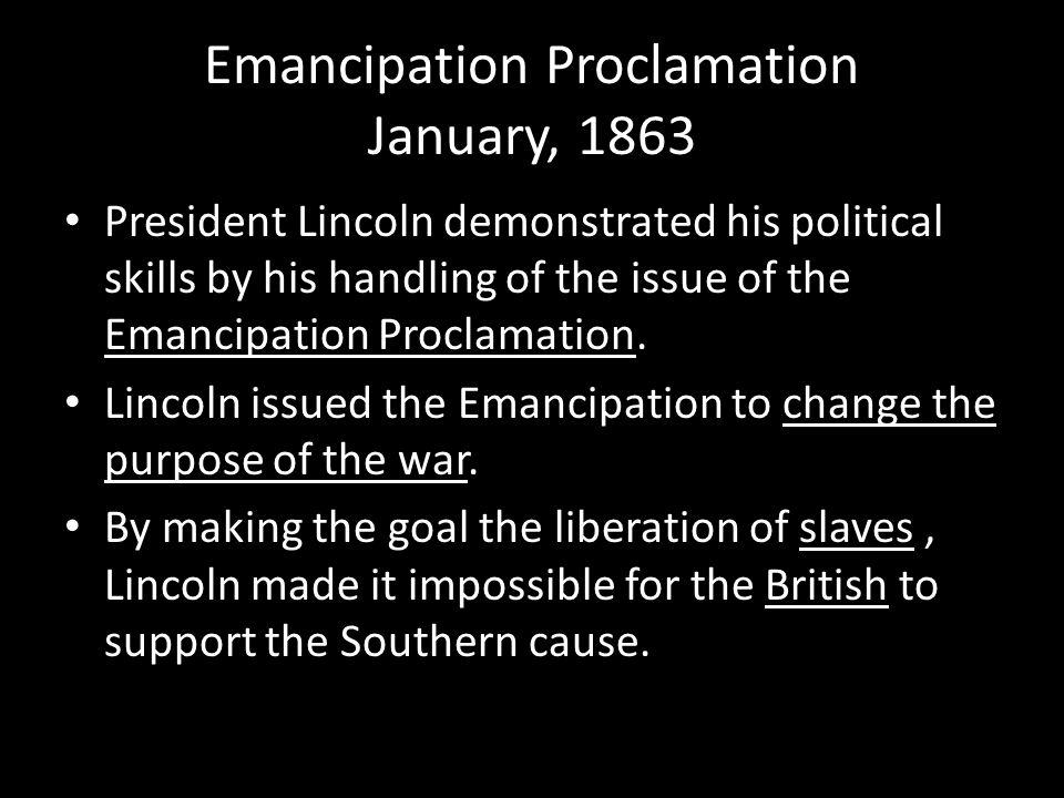 Emancipation Proclamation January, 1863