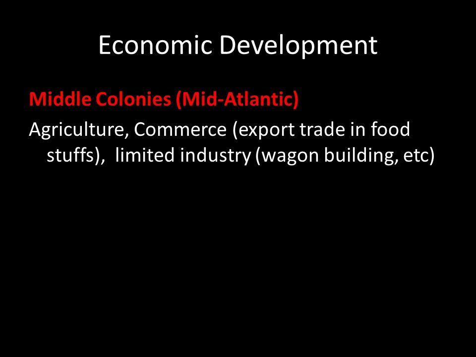 Economic Development Middle Colonies (Mid-Atlantic)