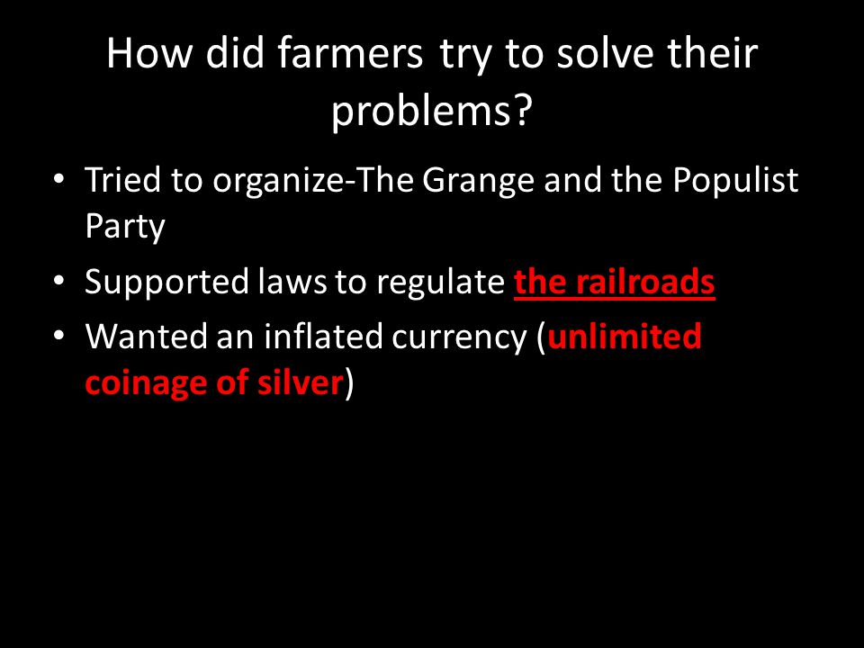 How did farmers try to solve their problems