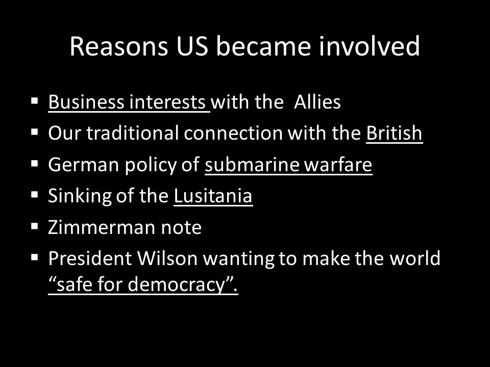 Reasons US became involved