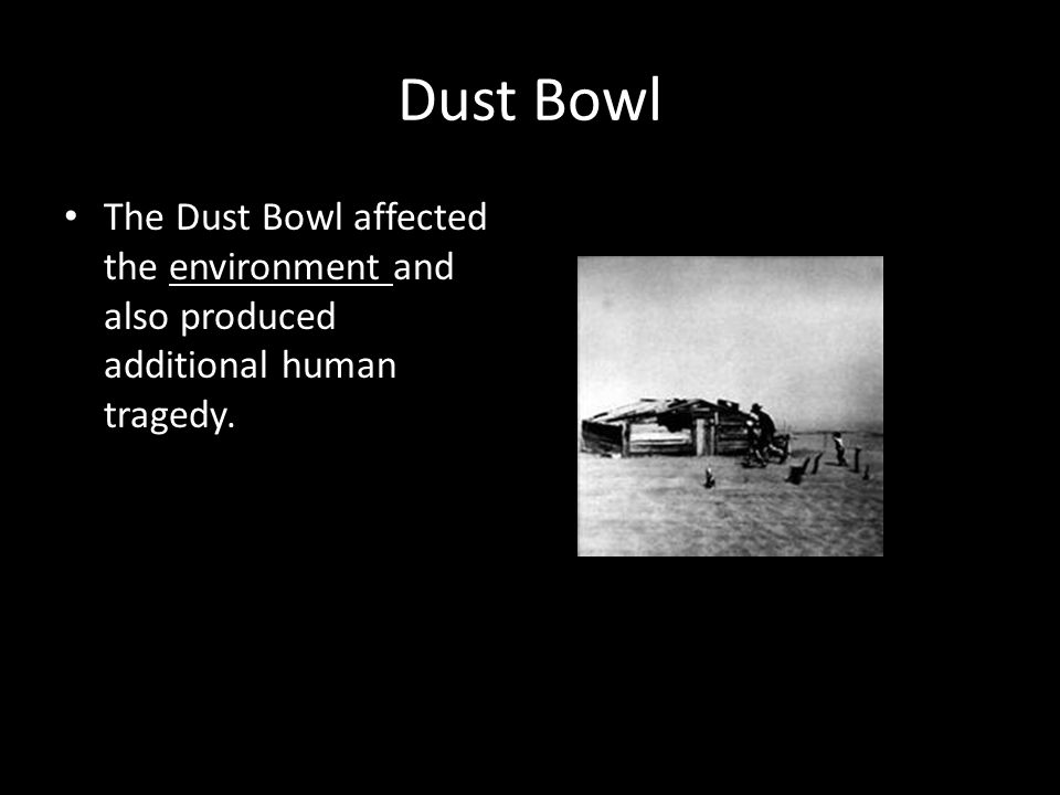 Dust Bowl The Dust Bowl affected the environment and also produced additional human tragedy.