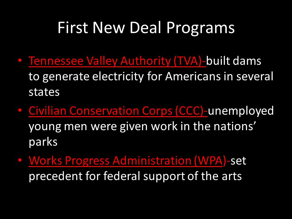 First New Deal Programs