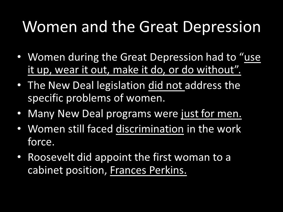 Women and the Great Depression