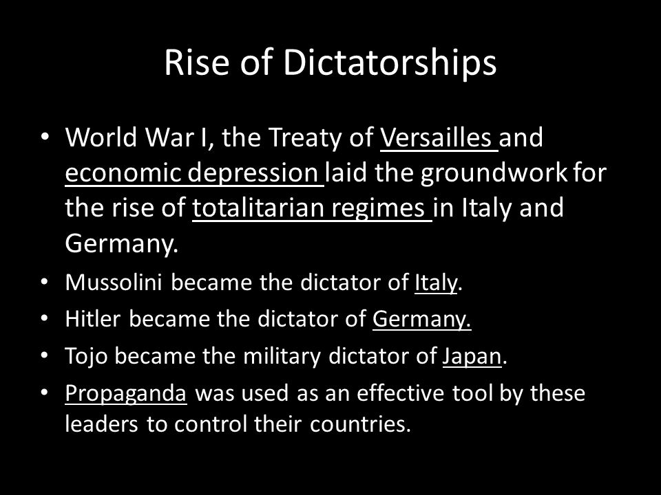 Rise of Dictatorships