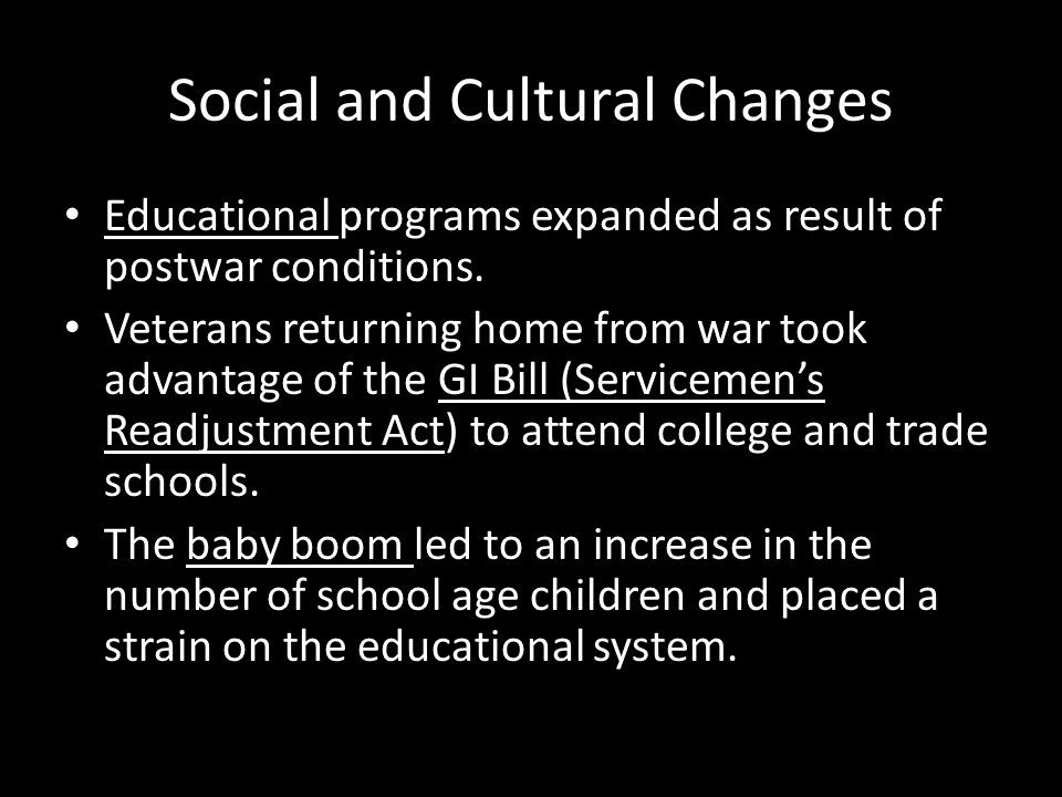 Social and Cultural Changes
