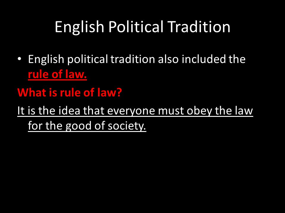 English Political Tradition
