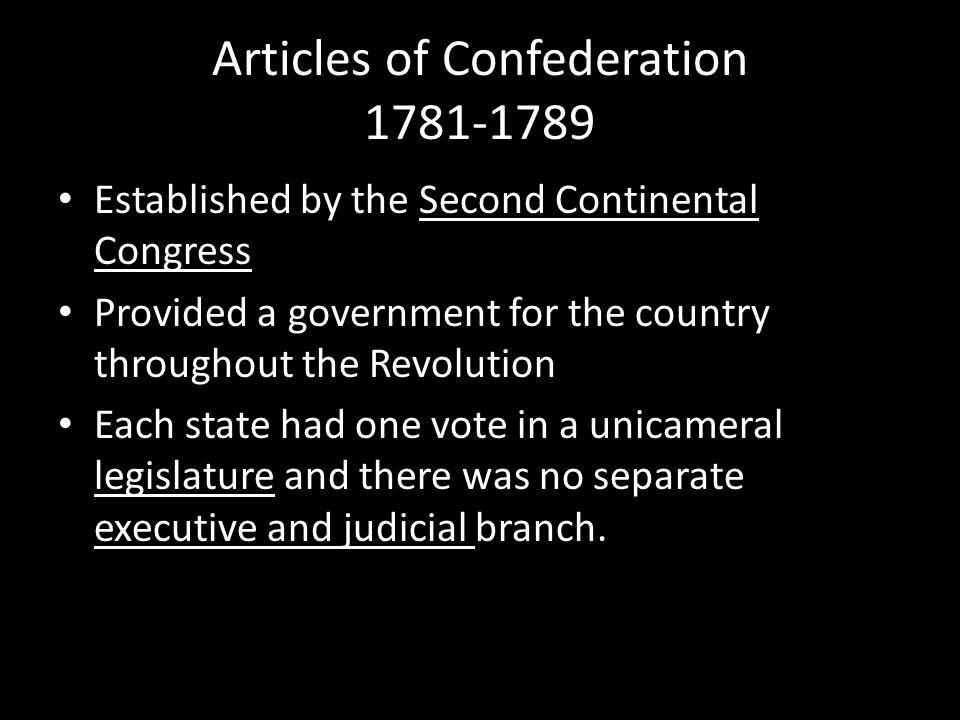 Articles of Confederation 1781-1789