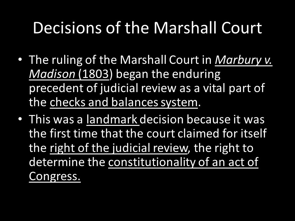 Decisions of the Marshall Court