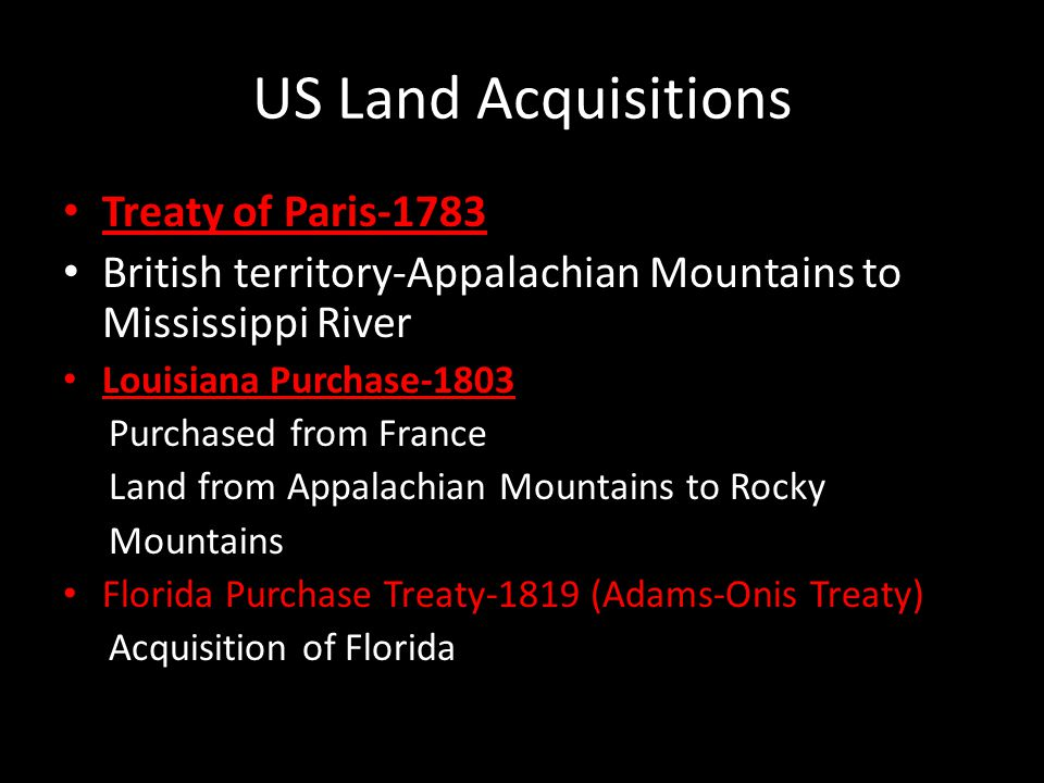 US Land Acquisitions Treaty of Paris-1783