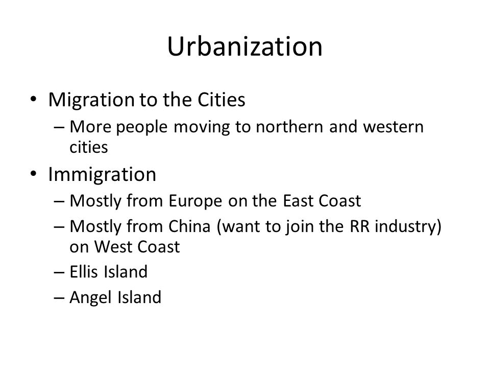 Urbanization Migration to the Cities Immigration