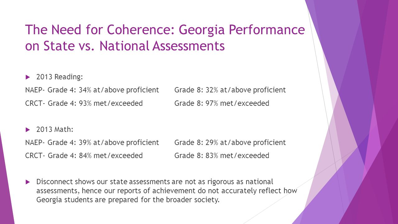The Need for Coherence: Georgia Performance on State vs