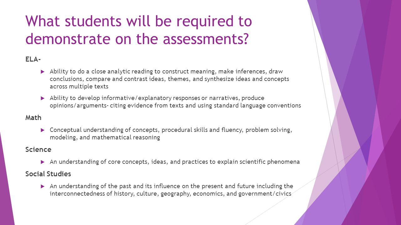 What students will be required to demonstrate on the assessments