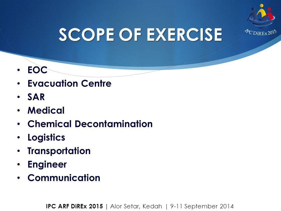 SCOPE OF EXERCISE EOC Evacuation Centre SAR Medical