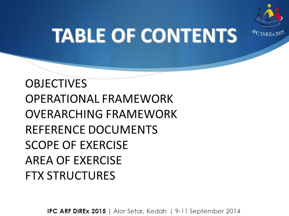 TABLE OF CONTENTS OBJECTIVES OPERATIONAL FRAMEWORK
