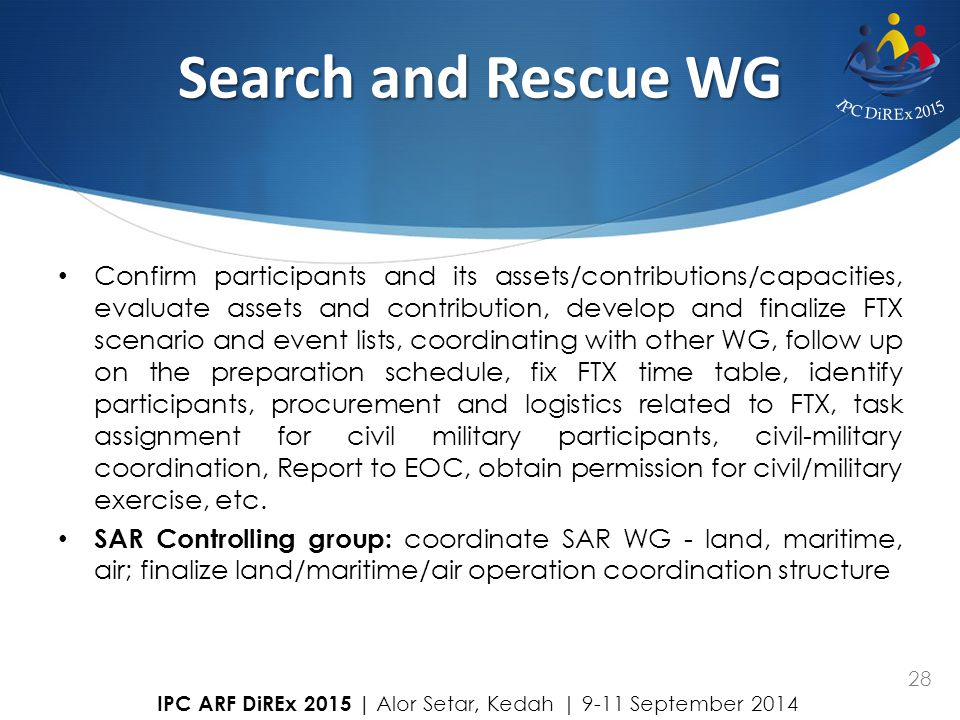 Search and Rescue WG