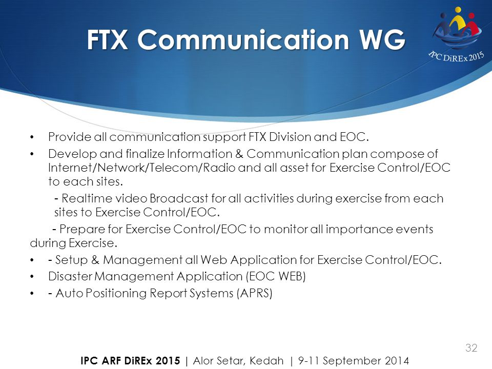 FTX Communication WG Provide all communication support FTX Division and EOC.