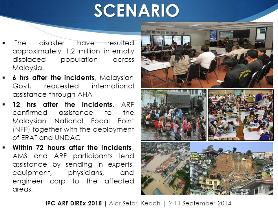 SCENARIO The disaster have resulted approximately 1.2 million internally displaced population across Malaysia.