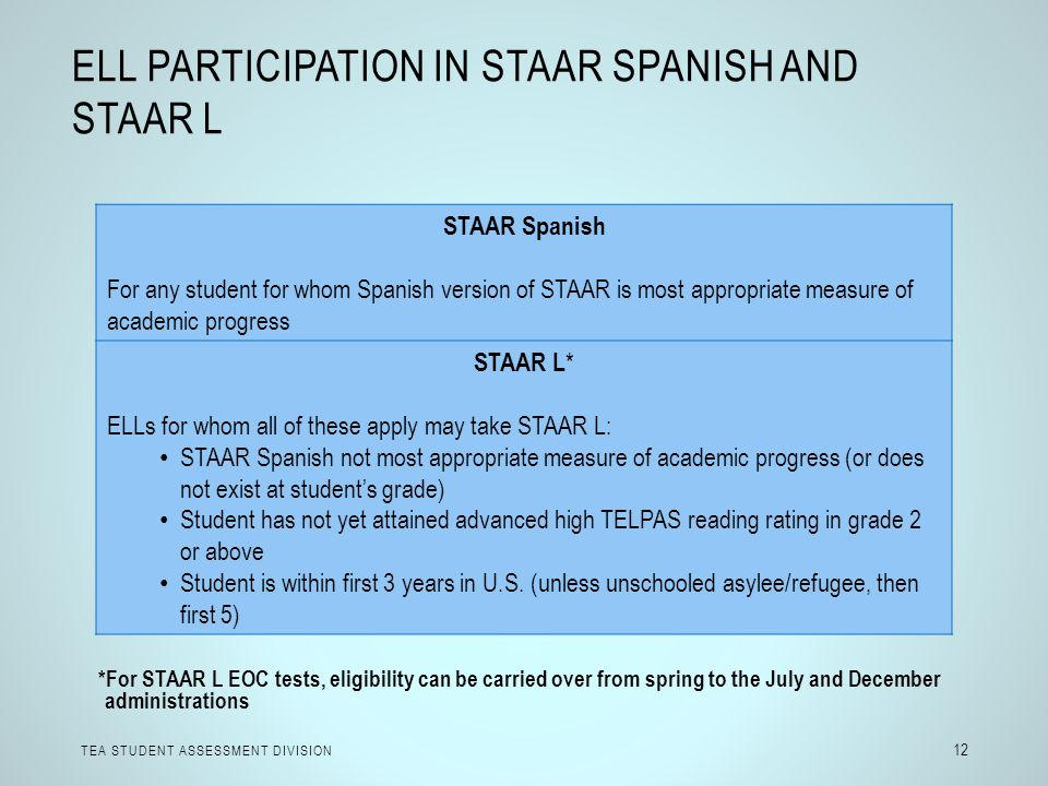 ELL Participation in STAAR Spanish and STAAR L