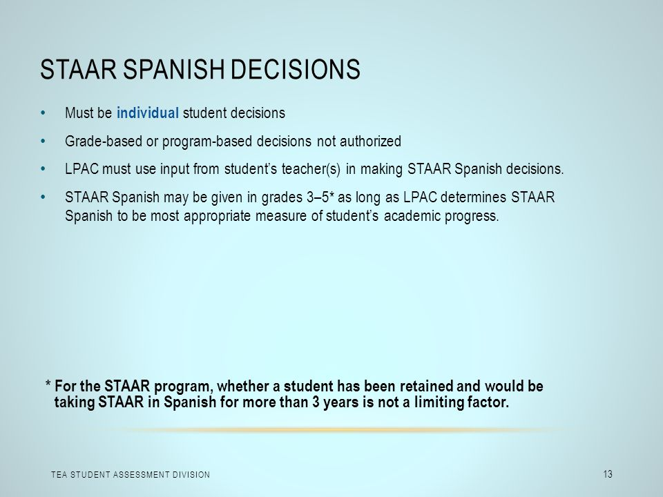 STAAR Spanish Decisions