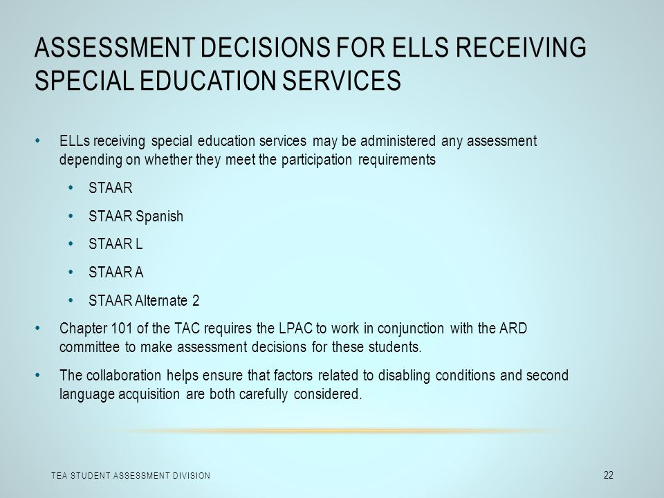 Assessment Decisions for ELLs Receiving Special Education Services