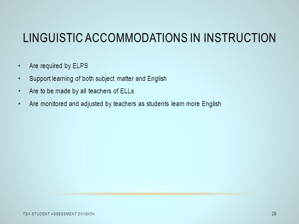 Linguistic Accommodations in Instruction