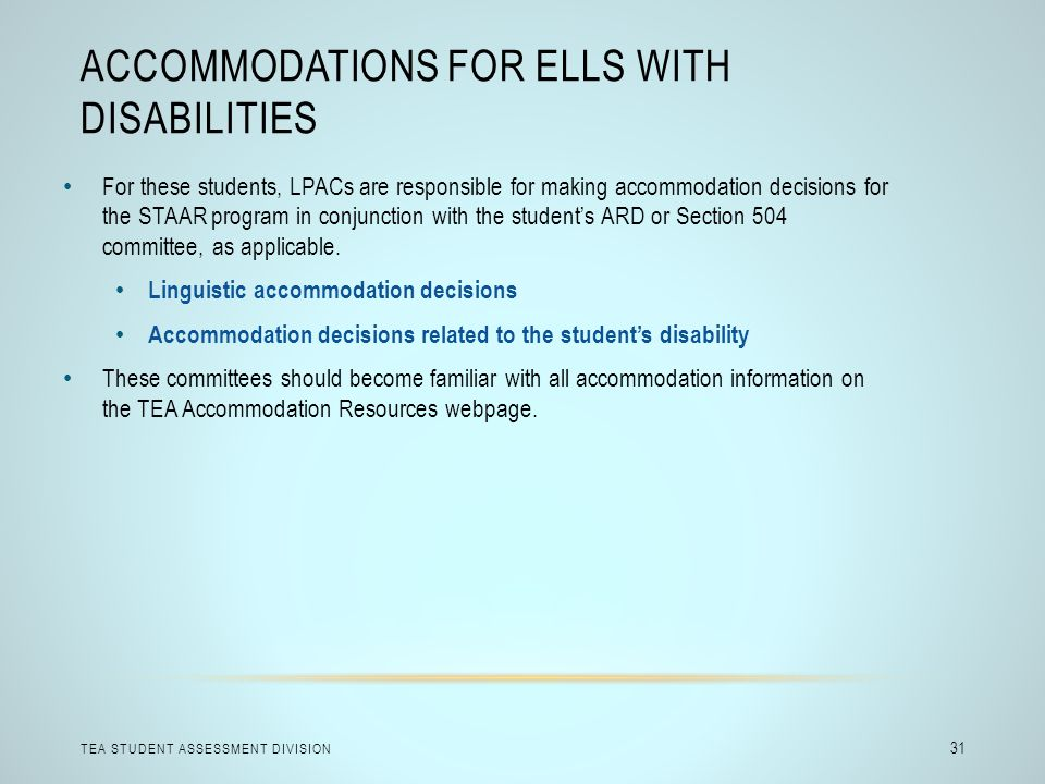 Accommodations for ELLs with Disabilities