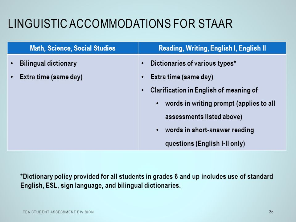 Linguistic Accommodations for STAAR