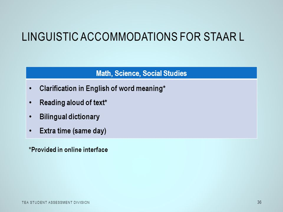 Linguistic Accommodations for STAAR L