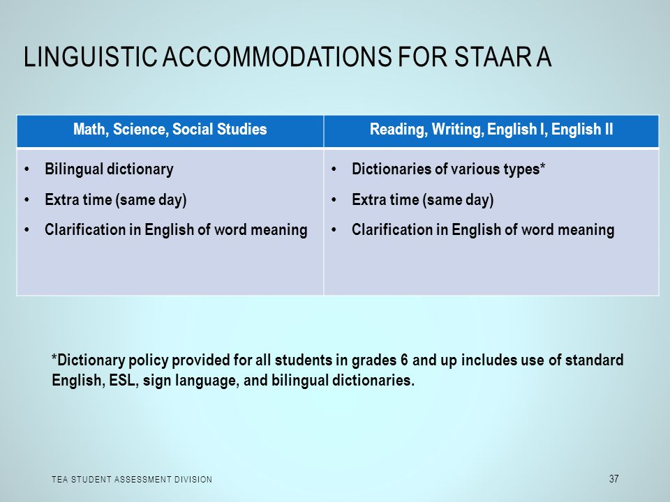 Linguistic Accommodations for STAAR A