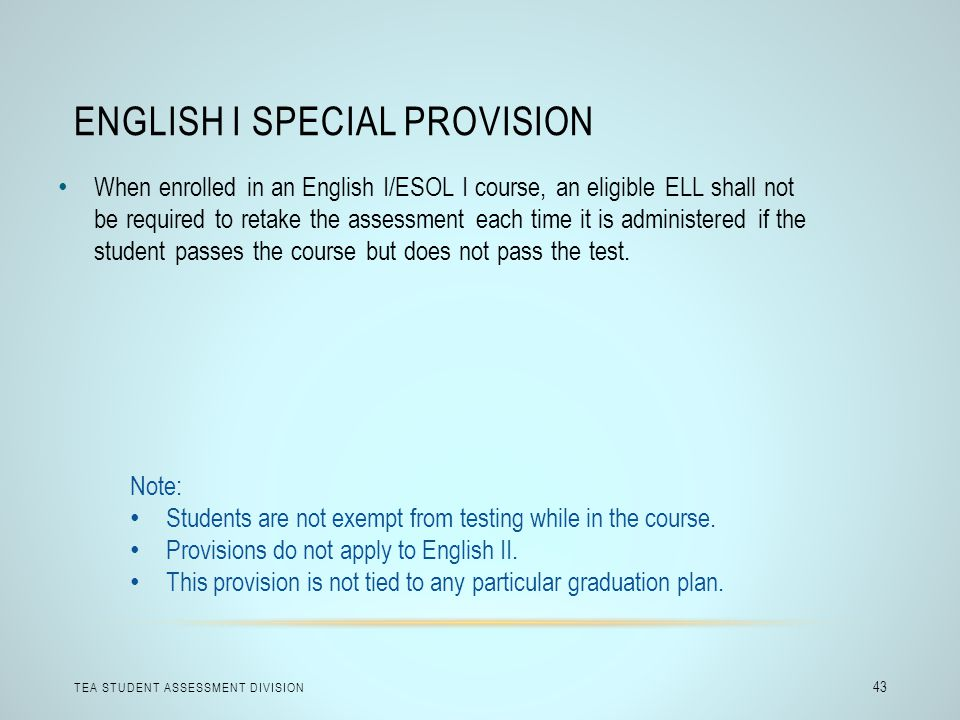 English I Special Provision