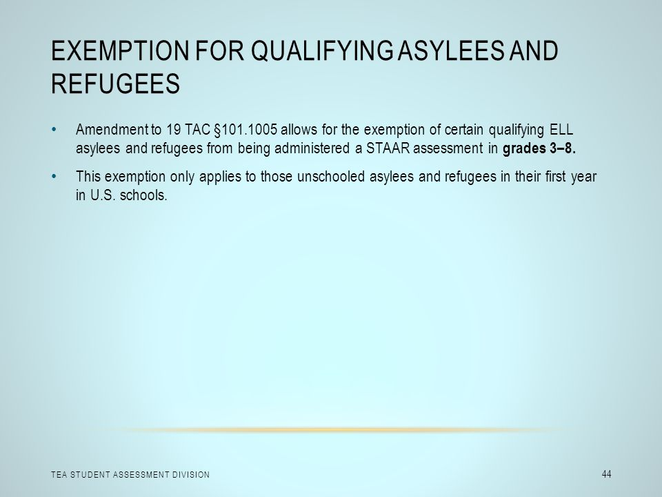 Exemption for Qualifying Asylees and Refugees