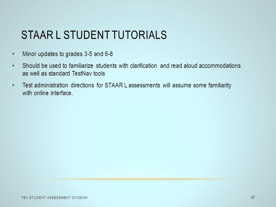 STAAR L Student Tutorials